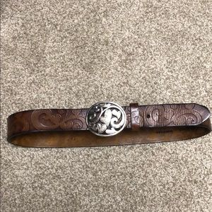 Brighton Belt - tooled whiskey brown leather.